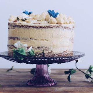 Olive Oil Almond Cake with Pomegranate Molasses French Buttercream