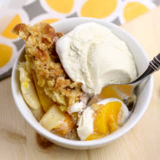 Peach, Pear, and Apple Cobbler with Oatmeal Crumble.