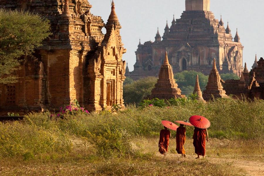 Bagan by Kyaw Swar Win - Buildings & Architecture Architectural Detail ( temple, monk, myanmar, umbrella, architectural, bagan, burmese, pwcdetails-dq )