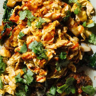 Stir-fried rice noodles with eight-egg omelette, oyster sauce and Sriracha