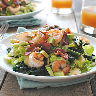 Brussels Sprouts Salad with Seared Shrimp and Bacon.