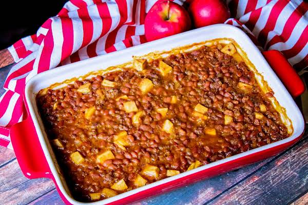A Baking Dish Of Spicy Apple Baked Beans.