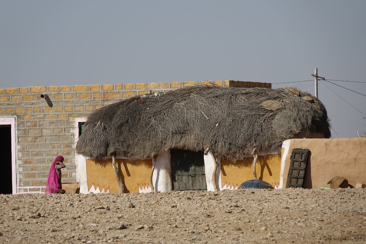 India. Rajasthan Thar Desert Camel Trek. Desert village