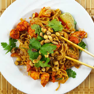 Chicken and Rice Noodles with Peanut Sauce.