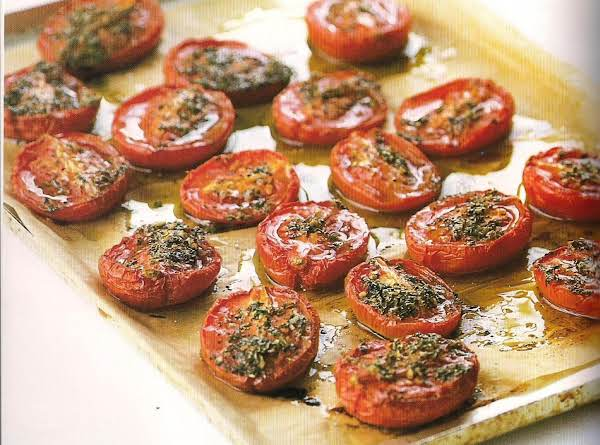 Slow Roasted Tomatoes With Garlic And Oregano
