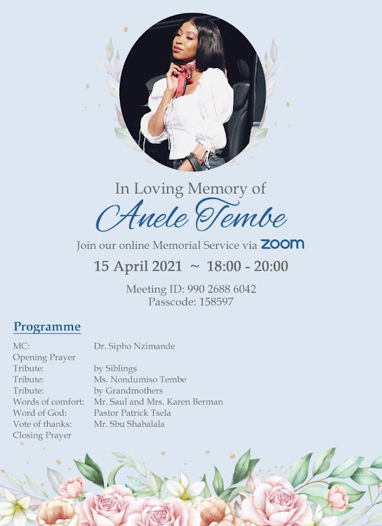 "Memorial details for Anele ""Nelli"" Tembe."