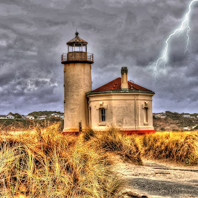 Coquile River Lighthouse  by John Broughton - Buildings & Architecture Other Exteriors ( lightning, abandoned lighthouse, lighthouse, river lighthouse, stormy skies )