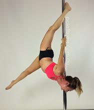 Photo: Helen Magiros - Upside down Handstand with Connected forward split Leg line - Vertical Pole Gymnastics @ Pole Fitness Studios