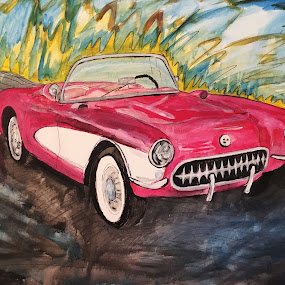 Lil Red Corvette by Raymond Paul - Painting All Painting ( car, corvette, prince, art, lilredcorvette, painting, large, convertible, historic )