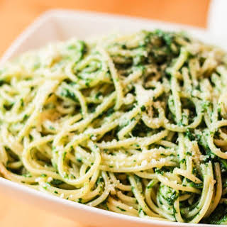 Spaghetti with Spinach Sauce.