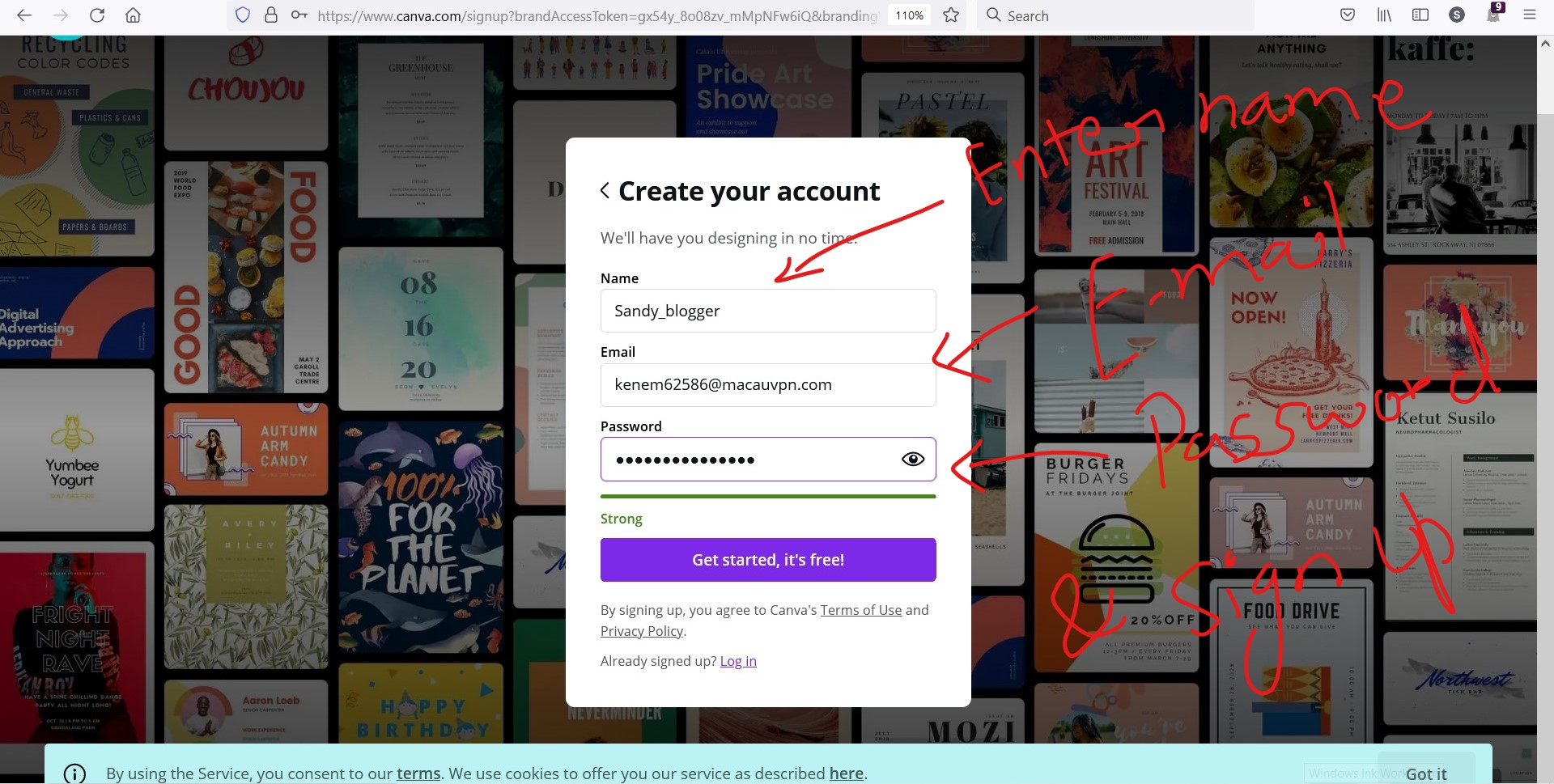Sign up canva