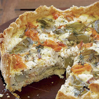 Smoked Salmon, Goat Cheese, and Artichoke Quiche