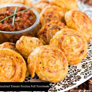 Sundried Tomato Fontina Puff Pinwheels.