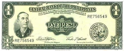 Philippine Peso during 1949 to 1969 English Peso Version as P 1 = $1 USD