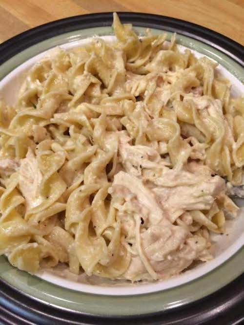 "Creamy Crock Pot Chicken with Pasta ""Made this tonight for dinner and all..."