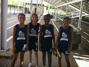 Photo: Autumn, Cayden, Zahria and Jolani after running the 4 x 400 at TAAF Regionals