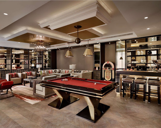 the pharaoh pool table in a luxury bar area