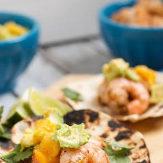 Shrimp, Avocado and Mango Tacos.