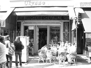 Photo: Us sitting at the Ulysse for breakfast in Paris