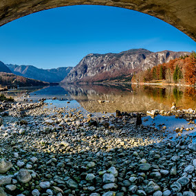 Autumn View AT Bohinj by Jaro Miščevič - Landscapes Waterscapes ( mountains, trees, reflections, lake, view, stones, landscape, colours )