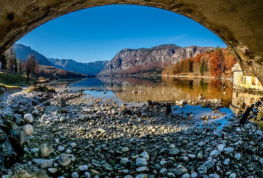 Autumn View AT Bohinj by Jaro Miščevič - Landscapes Waterscapes ( mountains, trees, reflections, lake, view, stones, landscape, colours )
