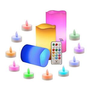 Set 3 lumanari ambientale RGB cu telecomanda