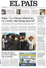 """Photo: Rajoy: """"La reforma laboral me va a costar una huelga general""""; Spanair despide a sus 2.075 empleados tras la quiebra; y El Asad recupera a sangre y fuego los suburbios de Damasco, entre los temas de nuestra portada del martes, 31 de enero http://www.elpais.com/static/misc/portada20120131.pdf"""