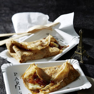 Buckwheat Crepes with Onion Chutney and Goat Cheese.