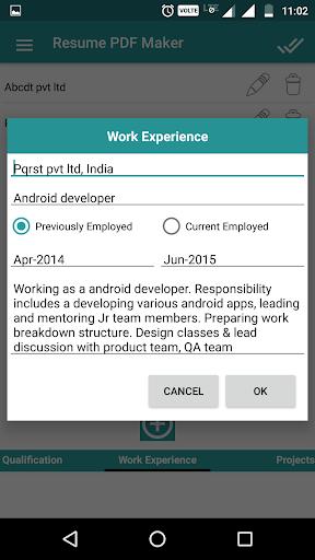 Resume PDF Maker / CV Builder 1.11 screenshots 6