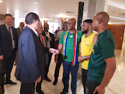 Sports Minister Nathi Mthethwa and SA Football Association Danny Jordaan meets SA super fans in Cairo, Egypt during the Africa Cup of Nations.
