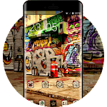 Graffiti theme asphalt wall city art wallpaper Icon