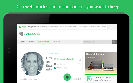 Evernote - stay organized.
