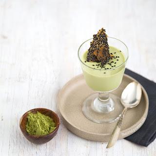 Matcha Green Tea Panna Cotta with Black Sesame Brittle