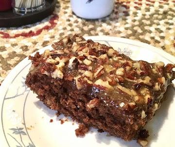 ~ Chocolate Caramel Pecan Cake ~ Recipe