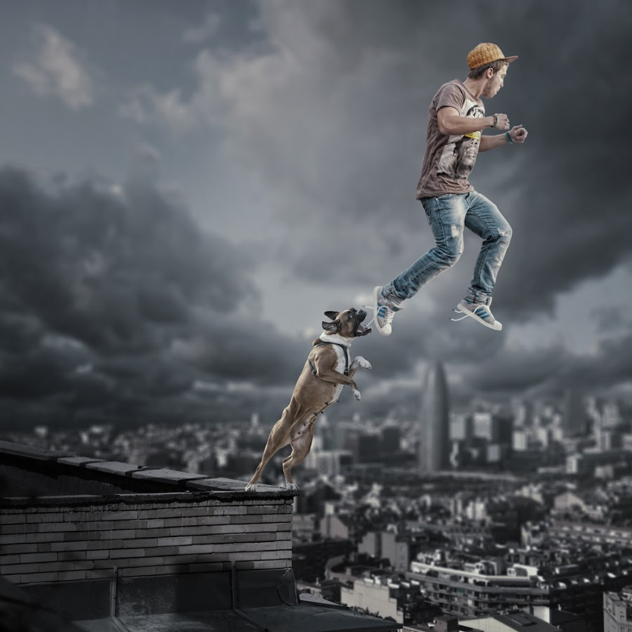 The way i express myself by Caras Ionut - Digital Art Things ( clouds, building, tutorials, barcelon, here, maya, manipulation, spain, roof, danger, fly, dog, man, photoshop, gravity )