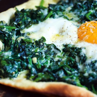Spinach, Soft Egg And Parmesan Pizzetta
