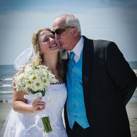 by Myra Brizendine Wilson - Wedding Bride ( bride, holden beach, wedding on beach, father, wedding, event, family, wedding on holden beach,  )