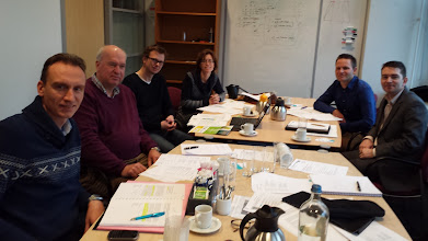 Photo: Long before the conference: The Technical Papers Committee reviews the abstracts. From left: Renaat de Sutter, Cees van Rhee, Henrich Roeper, Sylvia Minten, Eric van der Blom, Colm Sheehan.