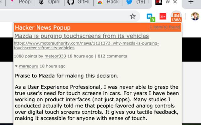 Hacker News Popup