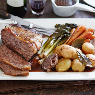 Pot-roasted Beef In Red Wine With Baby Veg And New Potatoes.