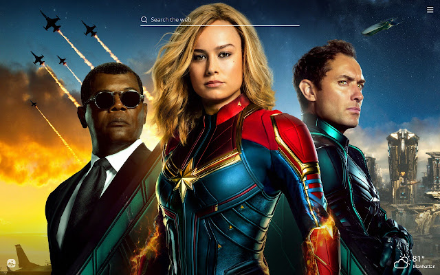 Captain Marvel HD Wallpaper New Tab Theme
