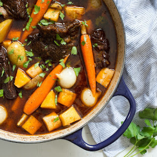 Root Vegetable Beef Stew with Mushroom and Spinach Polenta Recipe