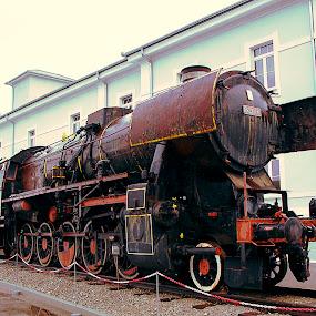 Old steam locomotive by Boris Podlipnik - Transportation Trains ( restoration, lokomotive, steam train, train, museum )