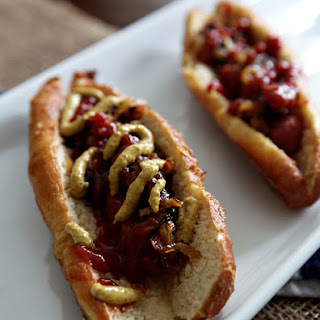 Hot Dogs with Caramelized Onions and Pretzel Buns