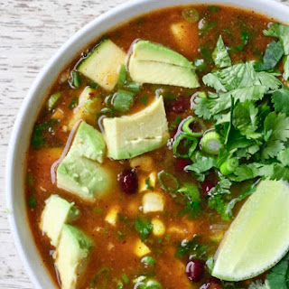 Mexican Vegetable Soup with Fresh Corn & Fire Roasted Tomato Broth.