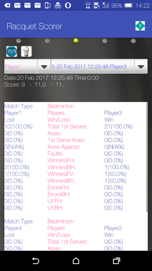 Racquet Game Scorer Free- screenshot