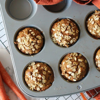 Healthy Whole Wheat Carrot Muffins with Walnuts {Dairy Free & No Refined Sugar}.