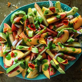 Tomato Peach and Avocado Salad with Cilantro Vinaigrette.