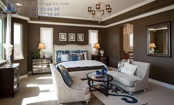 thiết kế phòng ngủ màu nâu