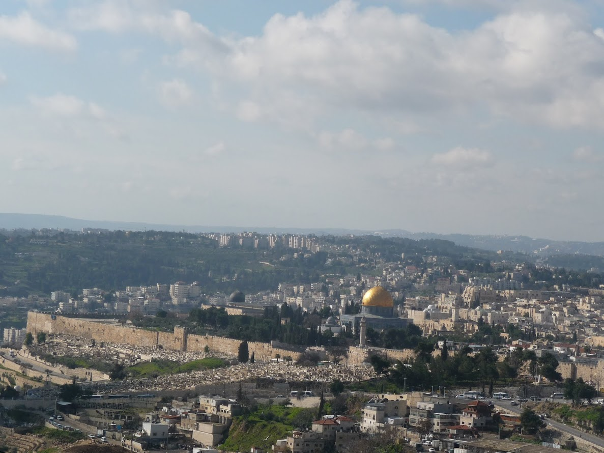 Travel to Israel - Jerusalem. First view of the Old City of Jerusalem, within the walls you see.